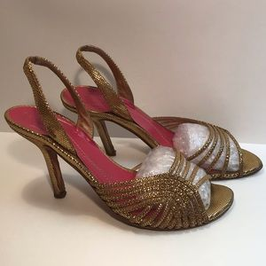 """kate spade New York Gold Strappy 4"""" Heel Size 6"""